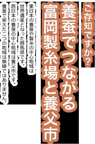 ご存知ですか?養蚕でつながる富岡製糸場と養父市 東日本の養蚕や製糸の中心地域は世界遺産となった群馬県です。西日本の養蚕の中心地域は養父市です。養蚕で栄えた二つの地域は無縁ではありません。